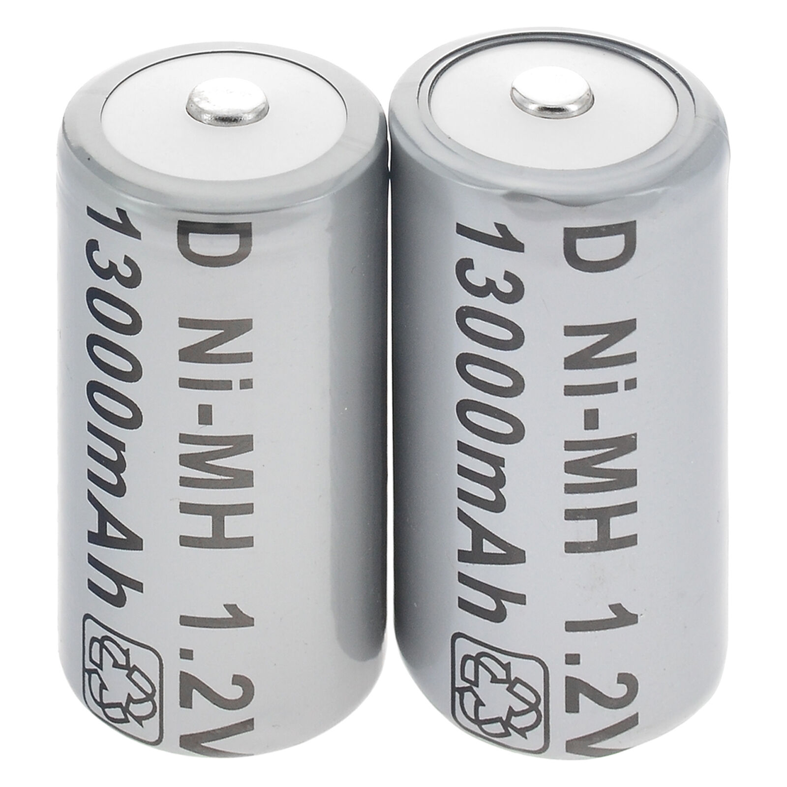 2pcs D Size D-Type 13000mAh 1.2V Ni-MH Rechargeable Battery Cell Grey