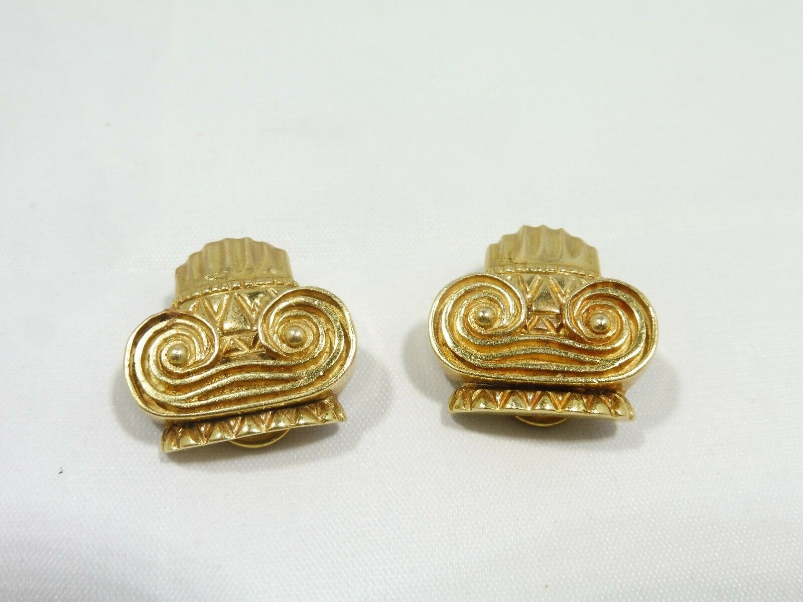 VINTAGE SUPERB NEOCLASSICAL 14K gold IONIC COLUMN EARRINGS 13.5 DWT