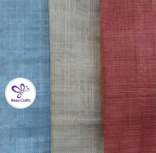 Sinamay Fabric for Millinery Hat Making 3 Mixed Colours Coral Sand light blue