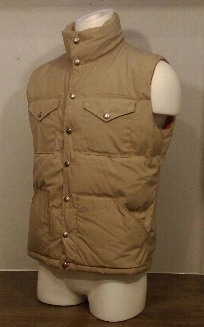 Etiqueta Vintage Marrón Hombres SM North Face Down Vest Beige Y Naranja Hecho en EE. UU. TNF
