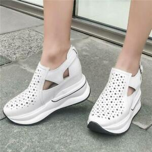 2019-Women-Cut-out-Shoes-Leather-Sneaker-Platform-Wedge-High-Heel-Sport-Sandals