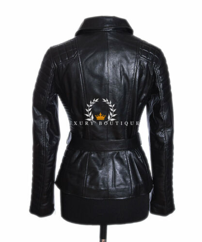 Naomi Black Ladies Designer Real Waxed Lambskin Quilted Leather Fashion Jacket