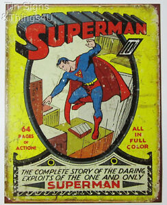 Image Is Loading Superman Vintage Comic Book Art Metal Poster Tin