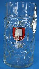 Spaten Munchen German Beer Clear Glass Stein Dimpled 1Litre Mug Oktoberfest