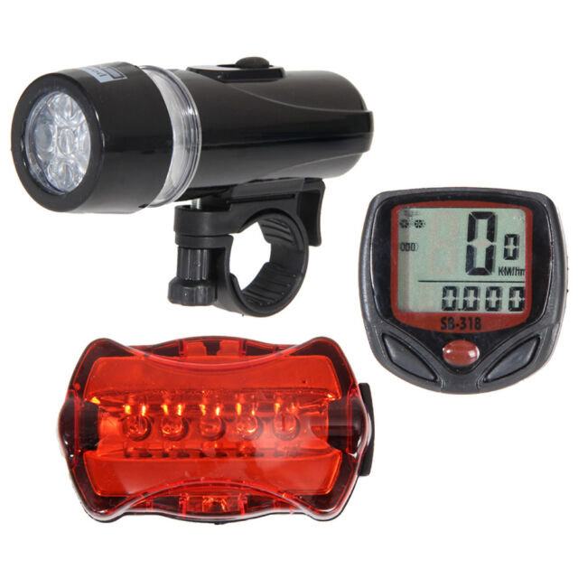 LCD Bicycle Speedometer 5 LED Mountain Bike Cycling Light Head Rear Lamp Set