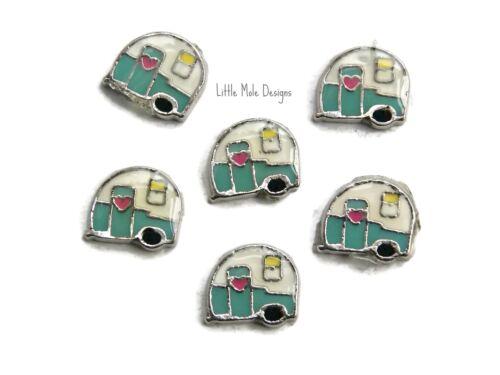 Caravana Amuleto Flotante Para Memoria Viva Medallón Collar Pulsera Camper Van