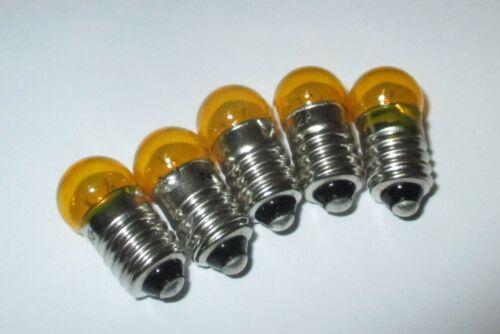 """Gelb /> 5 Stück  /""""NEU/"""" Farbe Ersatzlampen 11mm Kugel Fassung E10-3,5V"""
