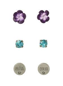 Disney Lilo Stitch Earrings Set 3 Pair Ohana Hibiscus Flower Faux