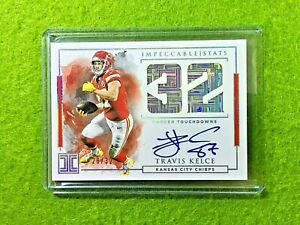 TRAVIS-KELCE-AUTO-PRIZM-CARD-JERSEY-87-CHIEFS-SP-32-REFRACTOR-2019-Impeccable