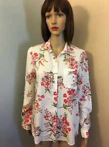 BEACH-LUNCH-LOUNGE-Anthropologie-Sz-S-White-Red-Floral-ALANNA-SHIRT-TOP-LS