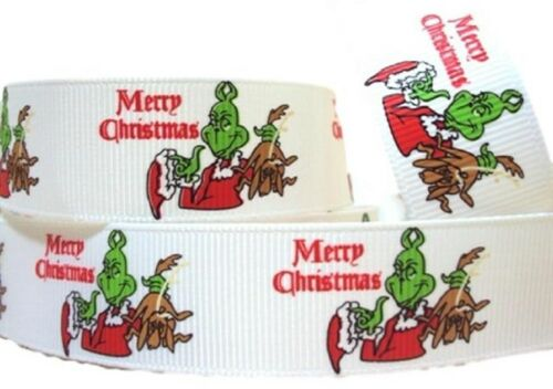 """The Grinch Merry Christmas 1/"""" Wide Repeat Ribbon Sold in Yard Lots"""