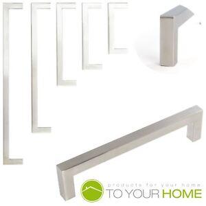 Square Brushed Stainless Steel Kitchen Cupboard Cabinet Drawer Door Handles Ebay