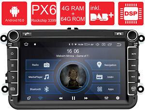 AV8V6: Android 10 PX6 Autoradio Naviceiver GPS für VW Seat Skoda IPS DAB+DSP