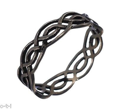 Mens Or Womens Infinity Celtic Ring 14K Black Gold 925 Sterling Silver