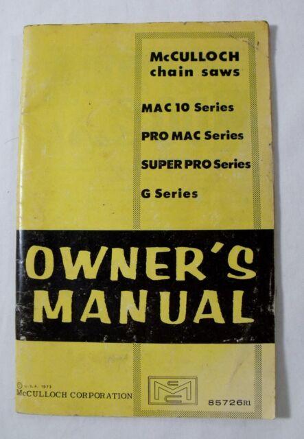 mcculloch chainsaw collection on ebay rh ebay com au McCulloch 610 Chainsaw McCulloch PM 610 Chainsaw Parts