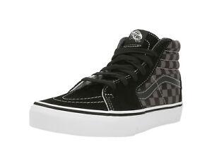 VANS-SK8-Hi-Checkerboard-Black-Pewter-Suede-Canvas-Lace-Up-Kid-Sneaker-Boy-Shoes