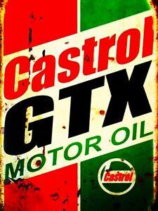 Castrol gtx oil garage workshop metal wall home art  decor sign plaque man cave