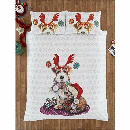 Stunning Christmas Duvet IVY AND SNOWY CAT and DOG KING Bedding duvet Set