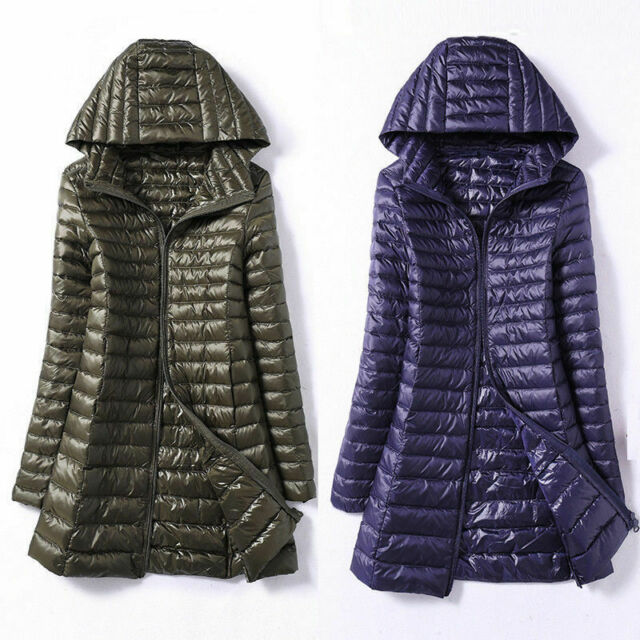 Womens//Girls Duck Down Ultralight Hooded Puffer Jacket Coat Outdoor Packable LK