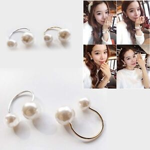 Fashion-Elegant-Design-Double-Faux-Pearls-Bead-Women-039-s-Cuff-Finger-Ring-Jewelry
