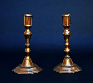 Pair Antique French Br Candlesticks