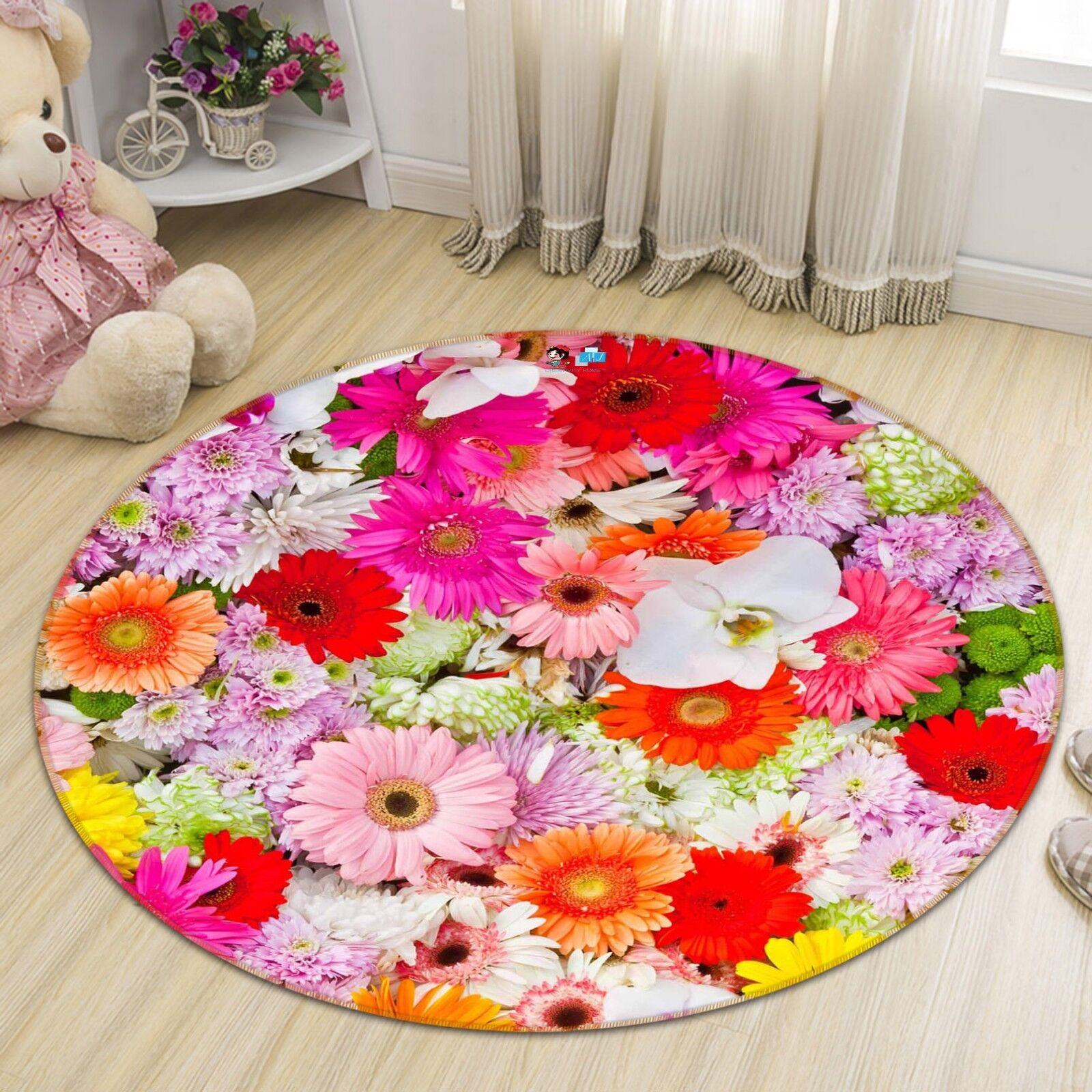 3D Fleurs Pleine Natte Fleur 102 Étage Antidérapant Natte Pleine Rond Élégant Tapis FR Summer 74b390