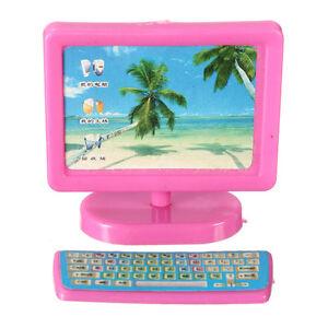 3 Pcs Miniature Pink Computer Set Fax Machine Furniture For Barbie Dollhouse