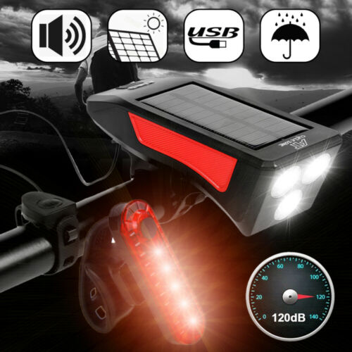 Horn Rechargeable USB LED Bicycle Headlight Bike Head Light Front Lamp Cycling