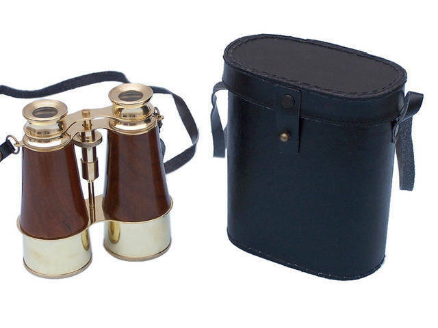 Solid Brass - Wood Binoculars w  Leather Belt and Leather Case 6  - Binocular