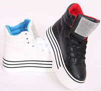 NEW WOMENS HIGH TOP TRAINER LADIES HIGH PLATFORM PLIMSOLLS CASUAL PUMPS SIZE 3-8