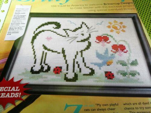 CROSS STITCH CHART  CUTE KITTY CAT LADYBIRD FLOWER SCENE CHART ONLY