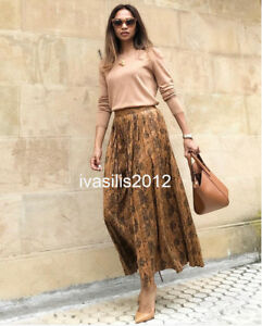 8d7a8e6189a5 ZARA NEW WOMAN SNAKESKIN PRINT PLEATED MIDI SKIRT XS-XL REF.8490/250 ...