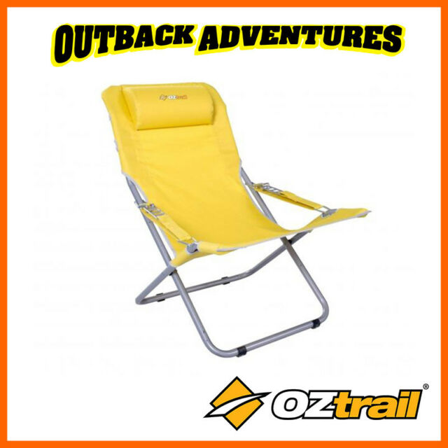OZTRAIL KOMO BEACH CHAIR RECLINING CAMPING YELLOW NEW UPDATED MODEL
