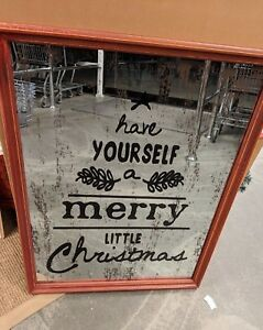 Have Yourself A Merry Little Christmas Sign.Details About Nib Pottery Barn Have Yourself A Merry Little Christmas Mirror Wall Art Mirrored