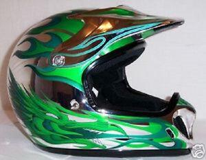 Helmets Cycle Atv Zeus 901 Dragon Chrome Green X Large Ebay