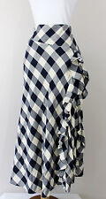 Ralph Lauren Long Full Length Cream Navy Blue Check Plaid Skirt Ruffle 12 Large