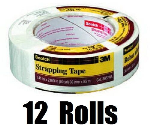 """12 ea 3M Scotch 8957-1.5  1.41/"""" x 60 Yards Reinforced Strapping Packaging Tape"""