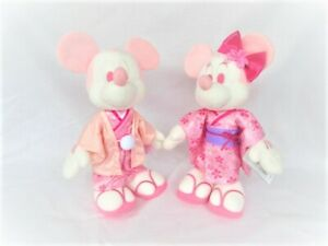 Disney Store Japan Keychain with Stuffed Doll Minnie Mouse Cherry Blossom