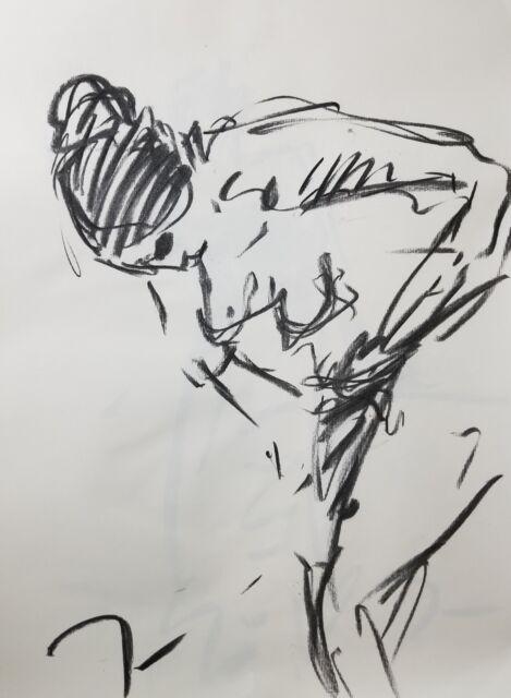 JOSE TRUJILLO - Original Charcoal on Paper Sketch Drawing 18X24 FIGURATIVE NUDE