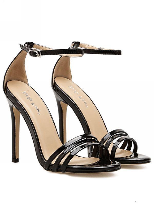 Sandali stiletto eleganti sabot 11 cm nero  lucido simil pelle eleganti 8580