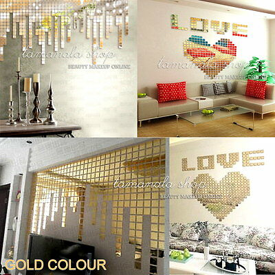 New 100pcs GOLD Acrylic Mural Wall DIY Sticker Mosaic Mirror Effect Room