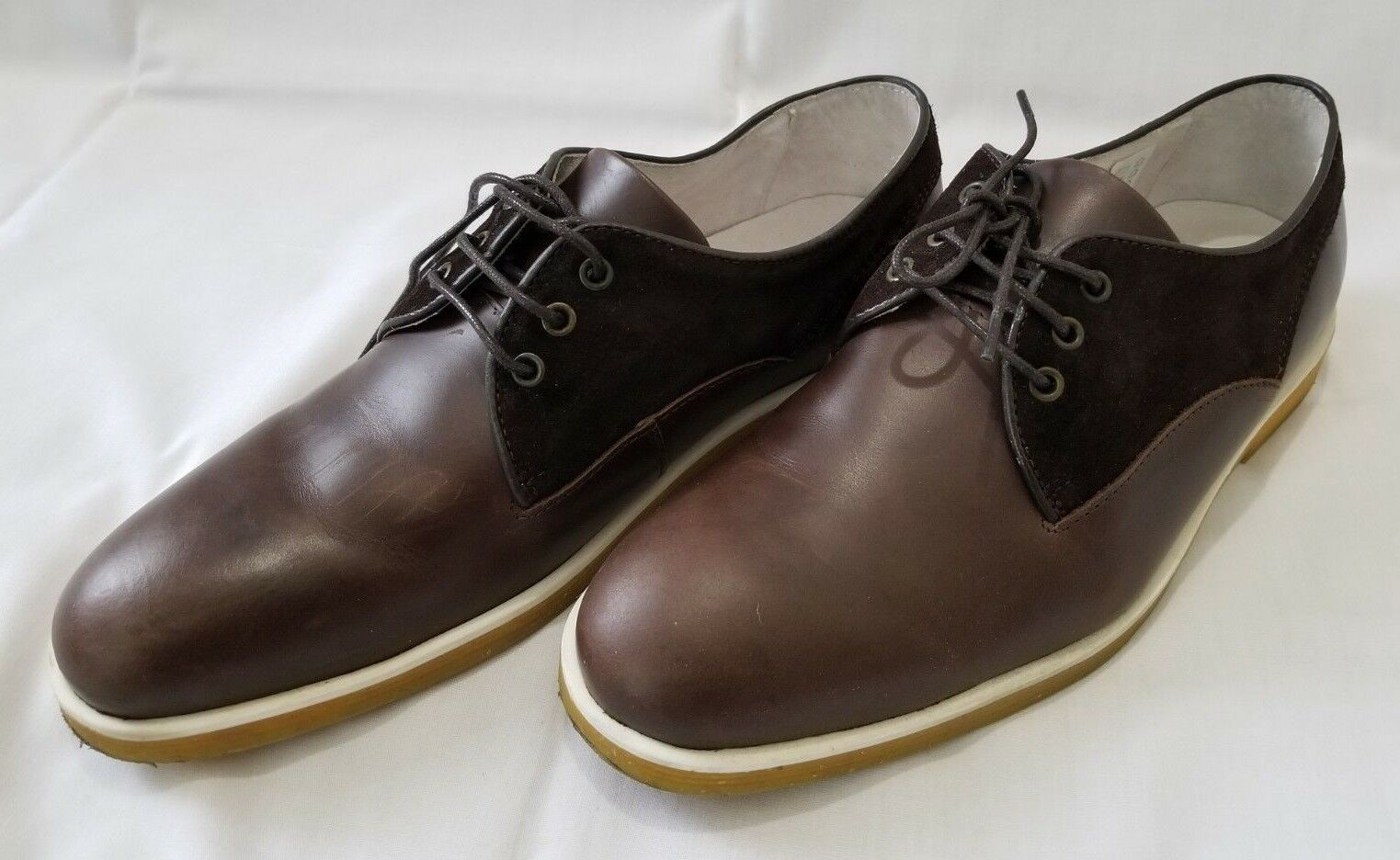 Uomo Size 9.5 Brown Swear London Logan 10 Pelle Derby Shoes preowned