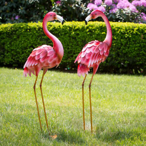 Image Is Loading Pink Metal Flamingo Garden Statues Lawn Decor Yard