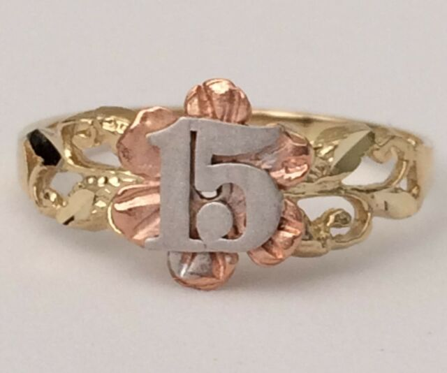 f565e8543 ... uk 14k rose white yellow gold sweet 15 birthday flower quinceanera ring  band girl 512e2 c561d