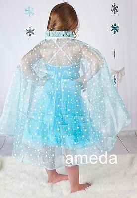 NEW Elsa Princess Gorgeous Glitter Polka Dots Aqua Blue Cape Costume 2-8Y