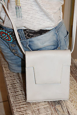 nT020t-NEU SUNNY kunst Leder ecru natur mittel groß Schulter Tasche Damen prakti