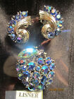 Stunning Vintage Lisner Signed Blue AB Rhinestone Brooch & Clip Earrings Set