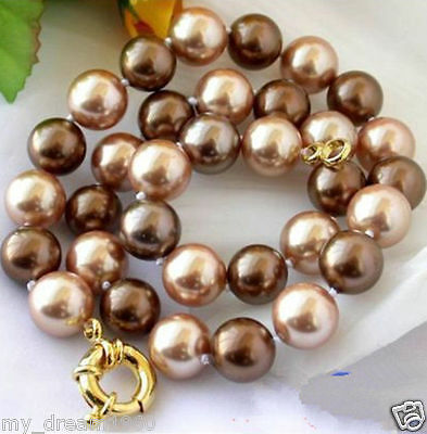 Natural Genuine 12mm Coffee Champagne South Sea Shell Pearl Necklace 18''AA