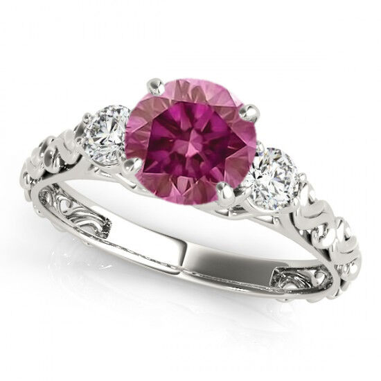 0.60 Cts Three Stone Solitaire Ring Pink HPHT 14k gold Valentineday Spl. Sale