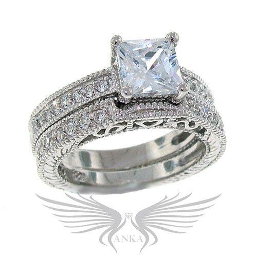 925 Sterling Silver Princess Cubic Zircon CZ AAA Wedding Set Sz 5-10 BR210899 *